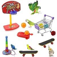 Oruuum Mini Bird Parrots Toys Set, 1 Pcs Mini Metal Shopping Cart, 1 Pcs Bird Skateboard, 1 Set Training Toss Rings, 1…