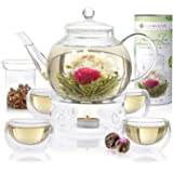 Teabloom Celebration Complete Tea Set – Stovetop Safe Glass Teapot (40 OZ / 1.2 L) with 4 Double-Wall Glass Teacups, Tea…