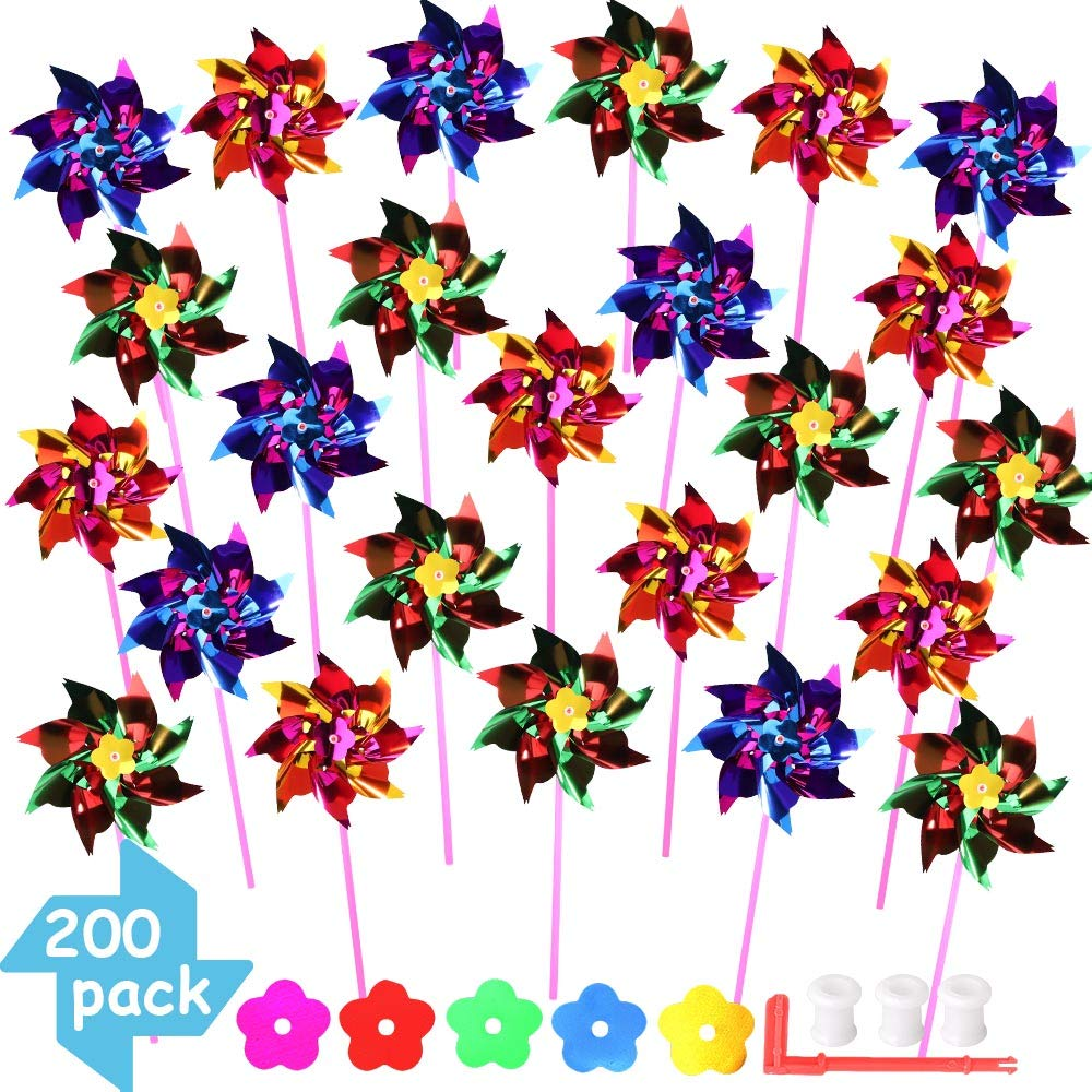 Nilos 200pcs Pinwheels, Garden Pinwheel Bulk DIY Pinwheel Kids Plastic Rainbow Pinwheel Windmill for Yard Lawn Decor