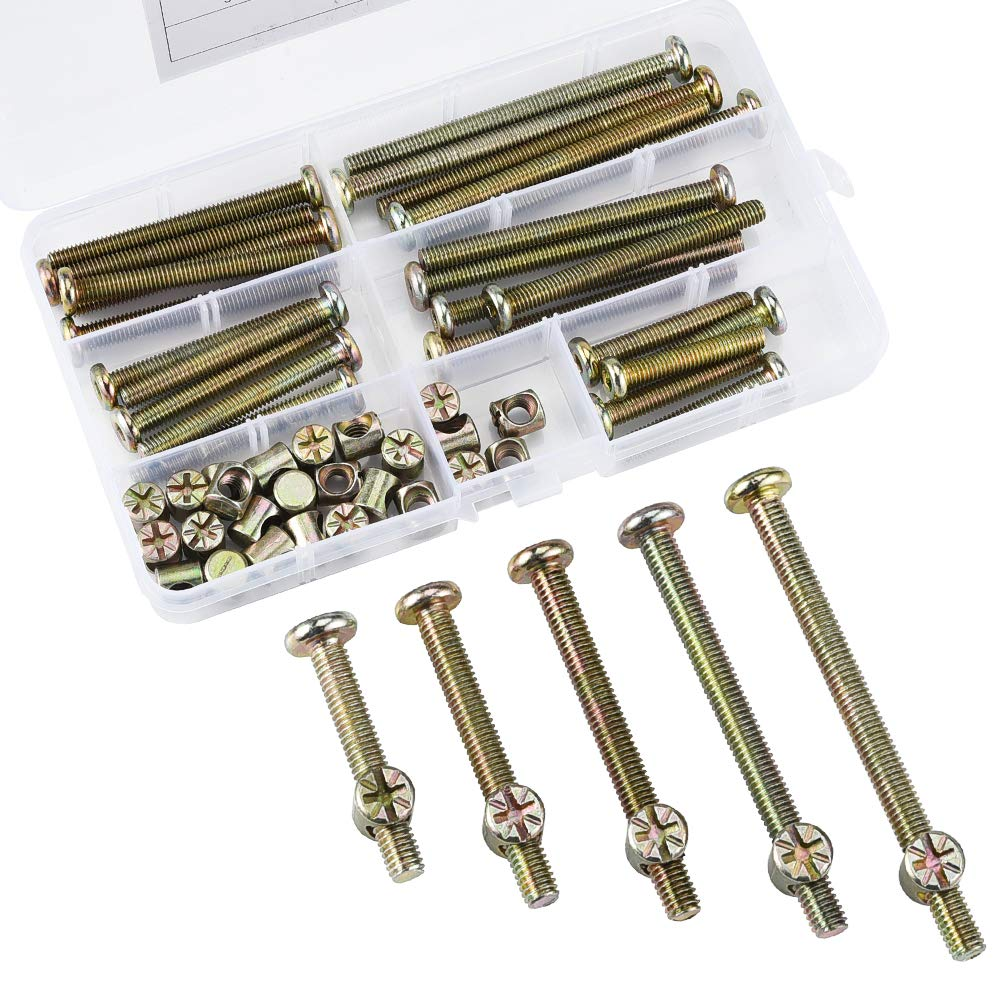 60 pcs M6 x 35/45/55/65/75mm Zinc-Plated Hex Socket Cap Barrel Screws Bolt Nuts Assortment Kit for Furniture Cots Beds Crib and Chairs