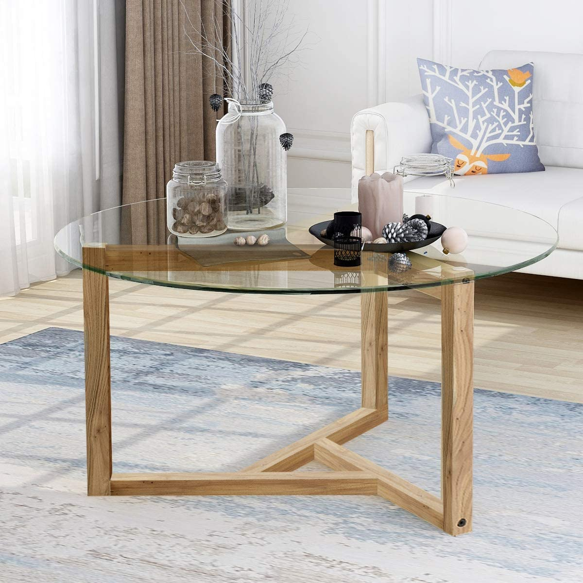Amazon Com Modern Round Coffee Table 35 Glass Coffee Table Easy Assembly Glass Coffee Table With Wood Leg For Living Room Dining Room With Wood Frame Kitchen Dining