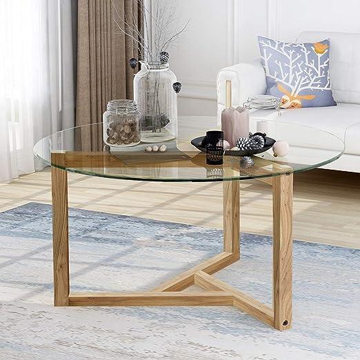 Amazon Com Modern Round Coffee Table 35 Glass Coffee Table