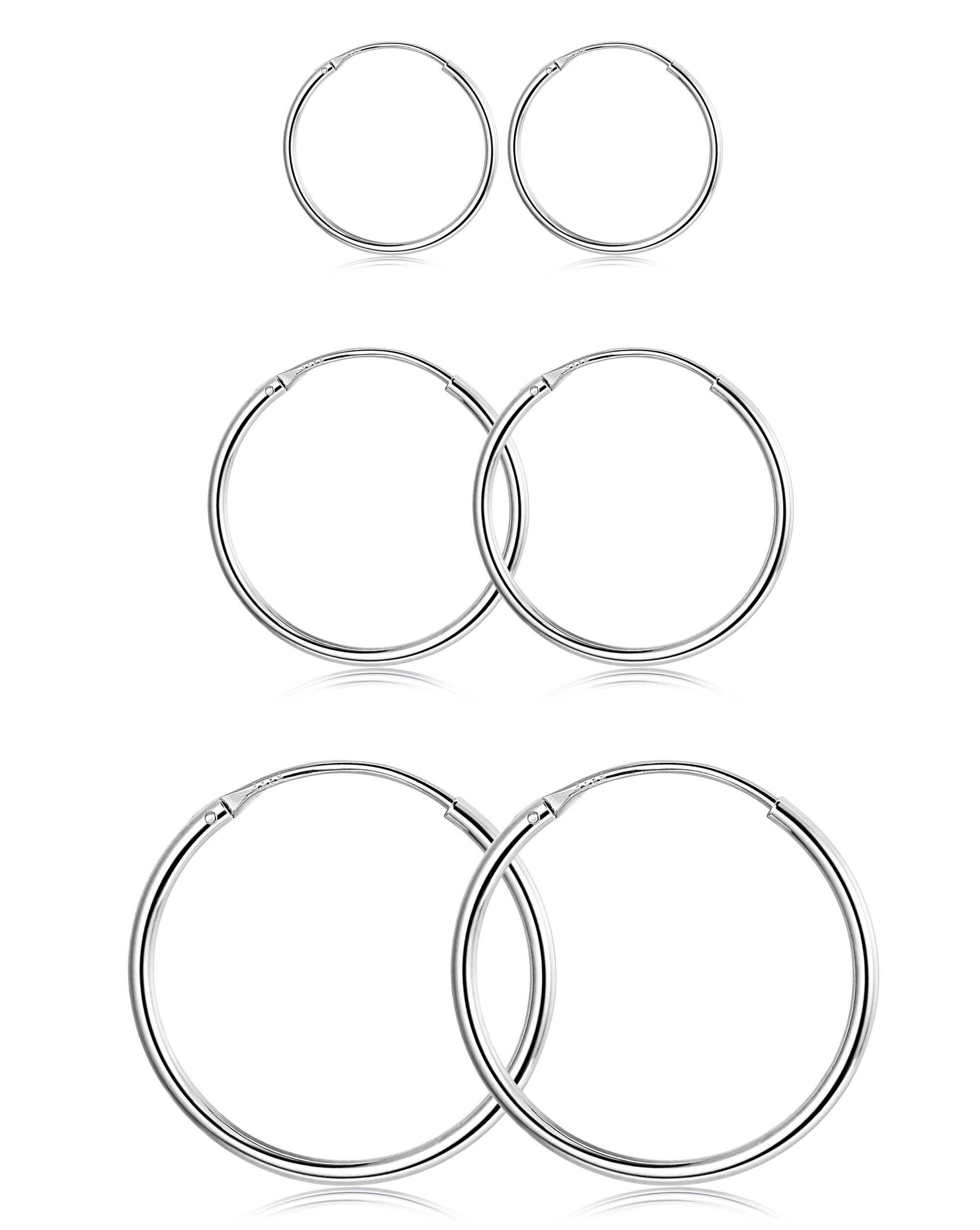 FUNRUN JEWELRY 3 Pairs Sterling Silver Hoop Earrings for Women Men Round Earrings Set 10-40MM (A: Platinum-Plated 3 Pairs: 10MM/15MM/20MM)