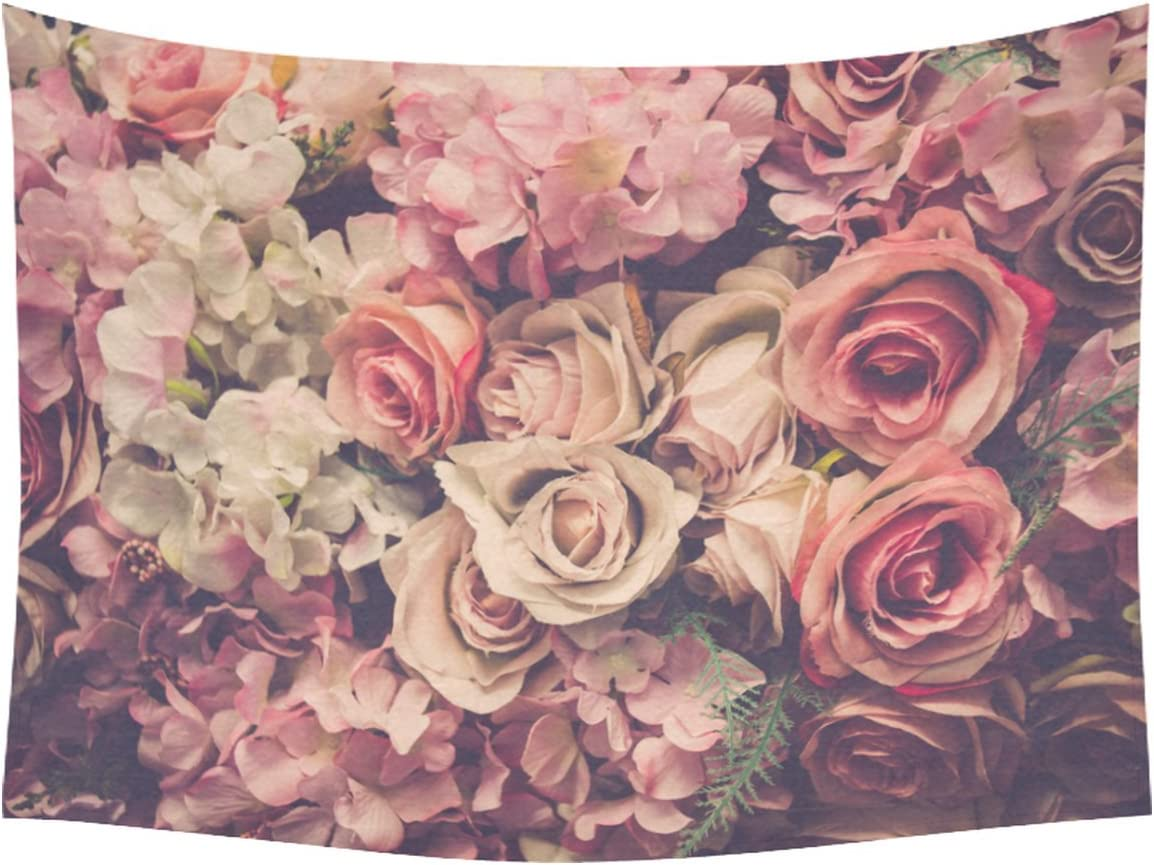 INTERESTPRINT Flower Pattern Home Decor Tapestries Wall Art, Pink Rose Flower Tapestry Wall Hanging Art Sets 80 X 60 Inches