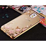 Samsung Galaxy Note 4 - Shockproof Silicone Soft TPU Transparent Auora Flower Case with Sparkle Swarovski Crystals for Samsung Galaxy Note 4 Back Cover (Gold + Pink)