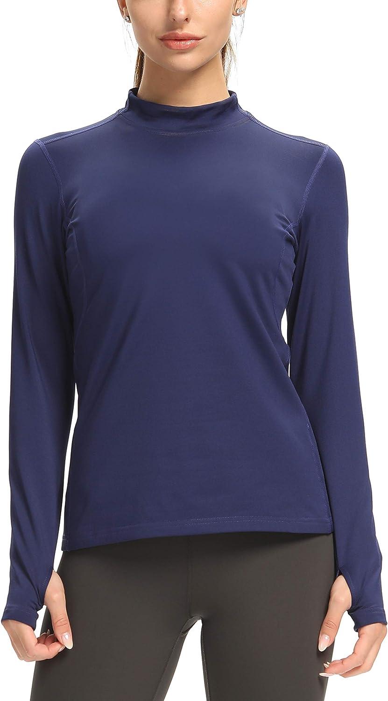 CQC Women's Fleece Thermal Long Sleeve Running Shirt Mock Neck Compression Workout Yoga Tops