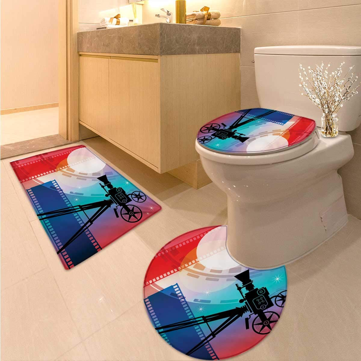 Anhuthree Cinema Toilet Carpet Floor mat Set Colorful Projector Silhouette with Movie Reel Vintage Design Entertainment Theme Bath Rug Set Multicolor