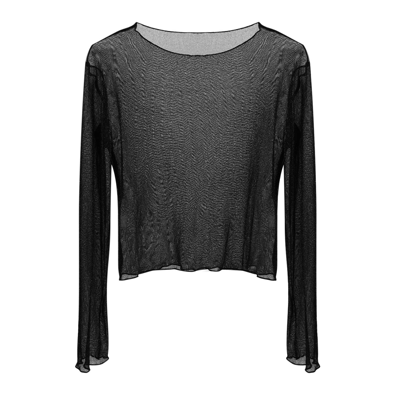 Petalum Damen T Shirt Transparent Tüll Tunika Tops Bluse