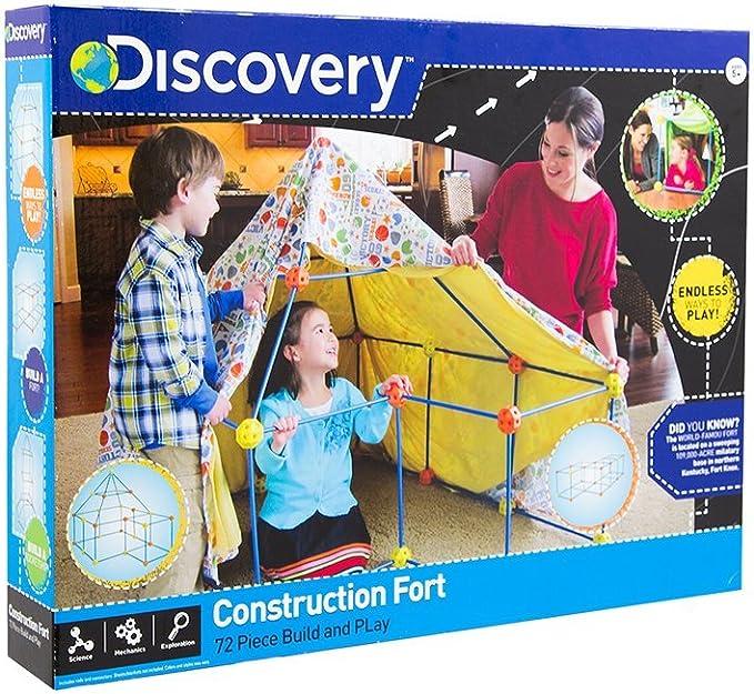 Construction Fort Couleur Bleu niches pour Enfants Construisez Votre cabane Maison Jouet Tente pour Enfants Orange et Jaune Discovery 6000105