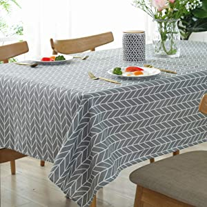 "meioro Tablecloths Rectangle Linen Table Cloth,Newest Design Cotton Hotproof Table Linens for Indoor and Outdoor (Grey, 55"" x 86"")"