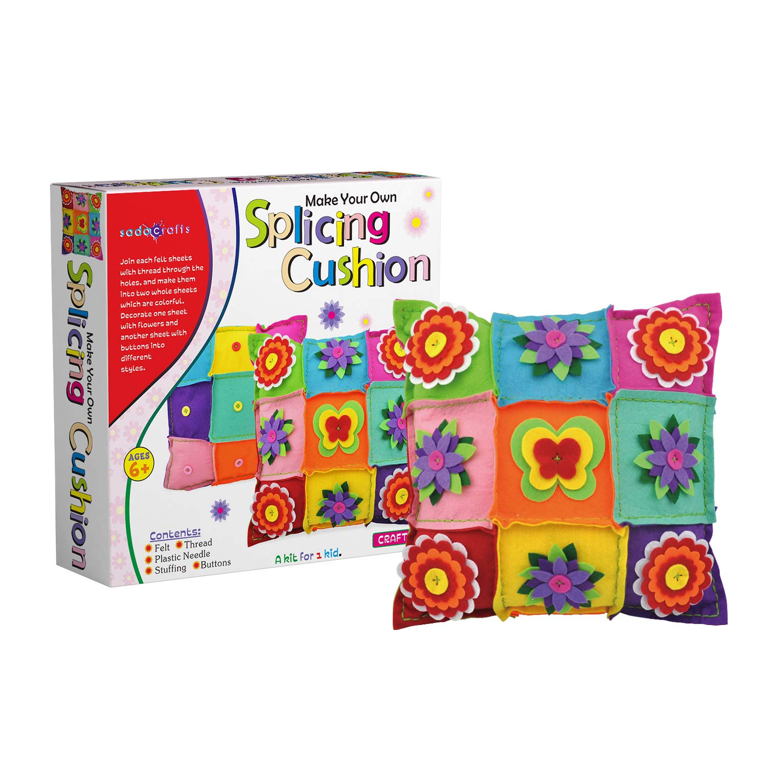 SadoCrafts DIY Felt Splicing Cushion Fun Interactive and Educational Pillow Kit for Kids Ages 6