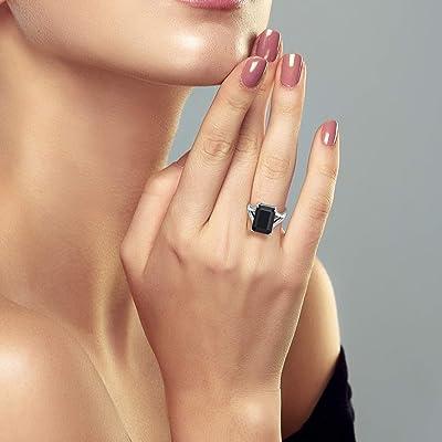 GTL Certified Emerald Black Onyx Gemstone Engagement 925 Sterling Silver Ring