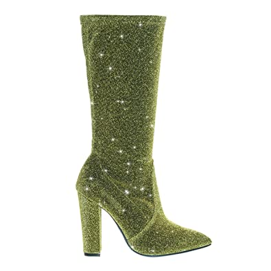 692b17ceb1b Madam06 Gold Glitter Block Heel Calf High Boots in Mesh Glitter -6