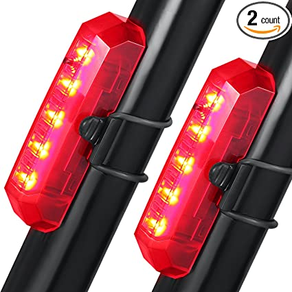 5 LED USB Rechargeable Bicycle Tail Light Bike Safety Warning Rear Lamp 2Packs