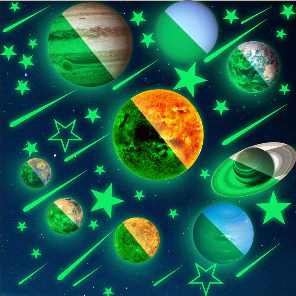 C FunDiscount Shop 10 PCS Glow in Dark Stars and Planets Wall Stickers Solar System Space Wall Decals Glowing Ceiling Wall Art Murals Wallpaper Poster for Kids Girls Boys Bedding Nursery Room