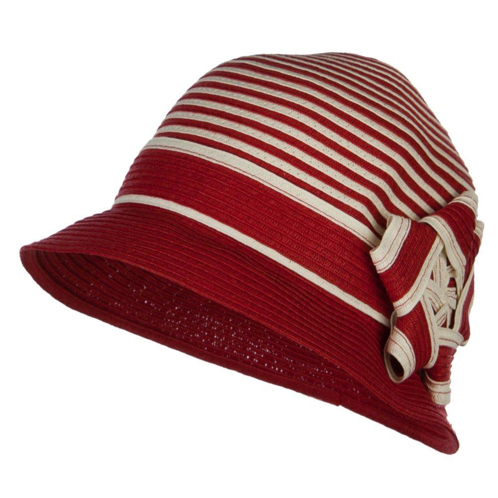 Star Ribbon Paper Striped Cloche - Red OSFM