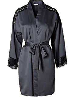 Marks   Spencer Womens Satin Lace Trim Short Wrap M S Dressing Gown 131be881c