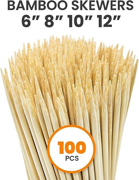 100 Pack ahorro pinchos de bambú de madera para Barbacoa Alimentos Fiesta Fuentes De Chocolate