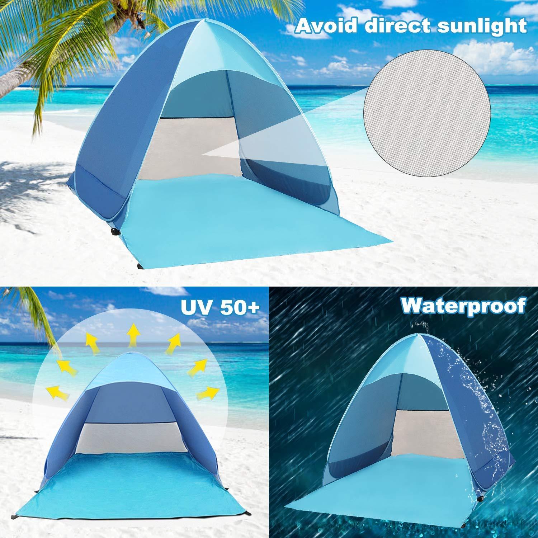 Azul Luces solares solares para familias y Carpa de Playa port/átil para 3 o 4 Personas Manf/â Carpa de Playa instant/ánea