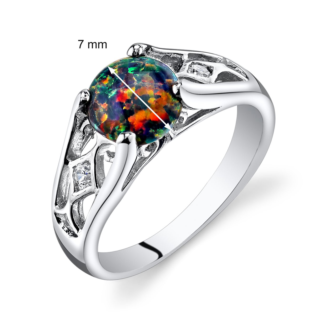 Peora Created Black Opal Venetian Ring Sterling Silver 1.00 Carats Sizes 5 to 9