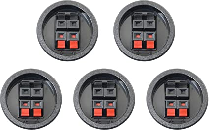 Audiopipe 5 Pack Round Push Spring Terminal Cup Connector Speaker Subwoofer