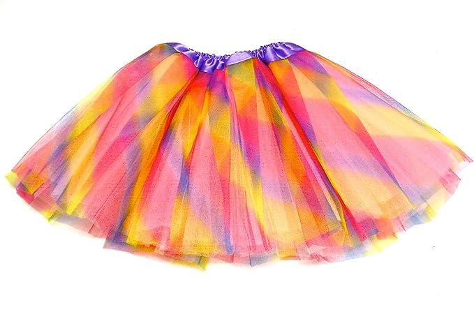 La Peach Fashions - Falda - con Volantes - para niña Arco Iris ...