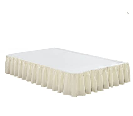 """Chezmoi Collection Solid White Ruffled 15/"""" Drop Bed skirt Dust Ruffle King"""