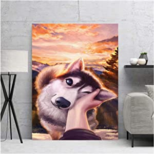 PIPAO Wall Art Canvas Touch The Dog Cute Beautiful Cool Prints Poster Home Decoration Painting for Bedroom Modular Pictures 11.8x15.7in(30x40cm) x1 No Frame