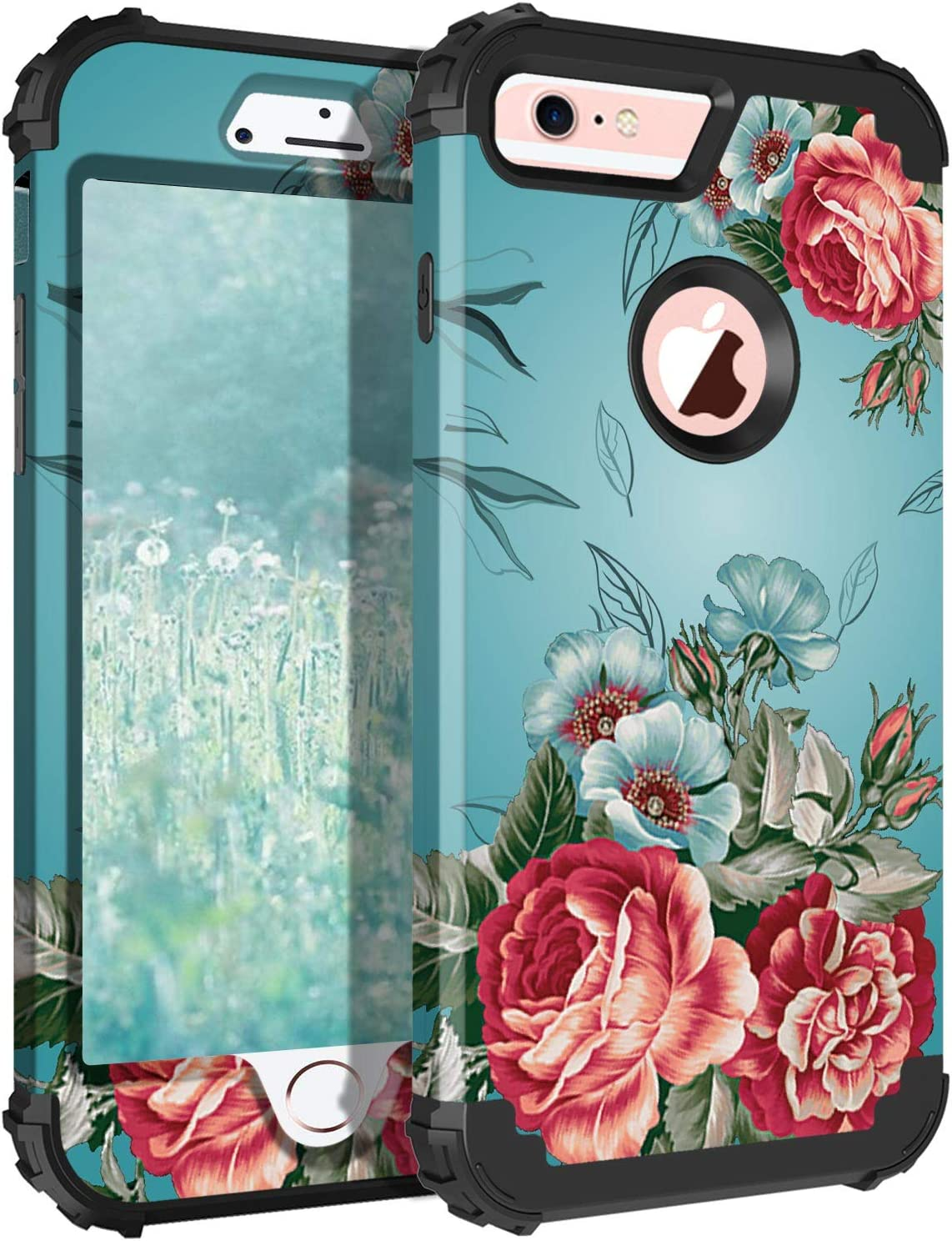 Lontect Compatible iPhone 6s Case iPhone 6 Case Floral 3 in 1 Heavy Duty Hybrid Sturdy High Impact Shockproof Protective Cover Case for Apple iPhone 6/6s, Teal/Red Flower
