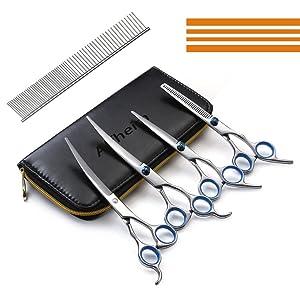 ALFHEIM Professional Pet Hair Grooming Scissors Thinning Shear & Straight-Edge Shear