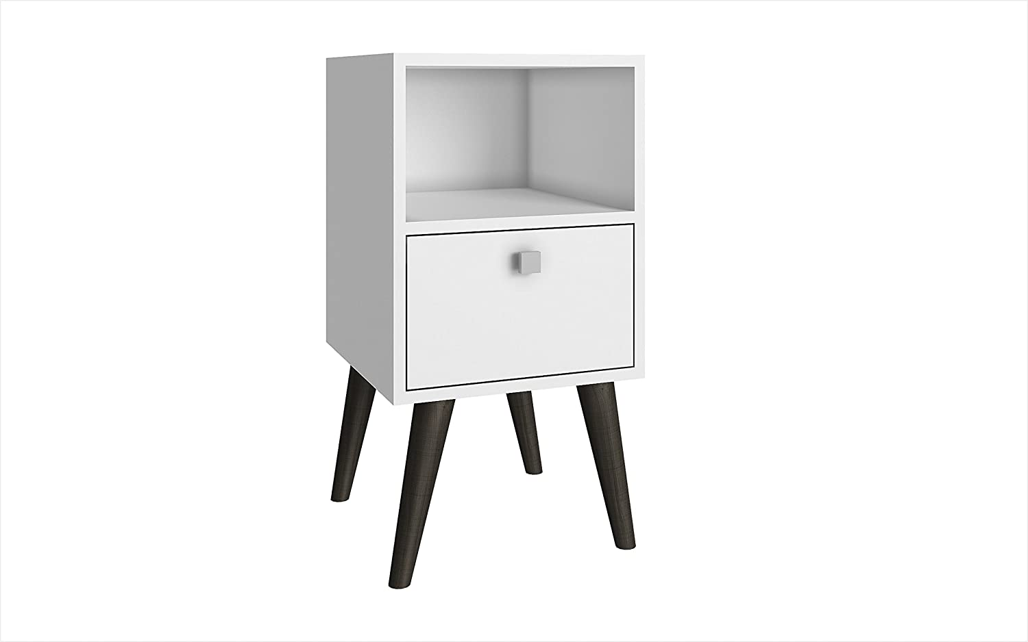 White and Grey Feet Manhattan Comfort Abisko Collection Mid Century Modern Free Standing 1 Drawer End Table   Side Table, Oak   Stamp   Grey