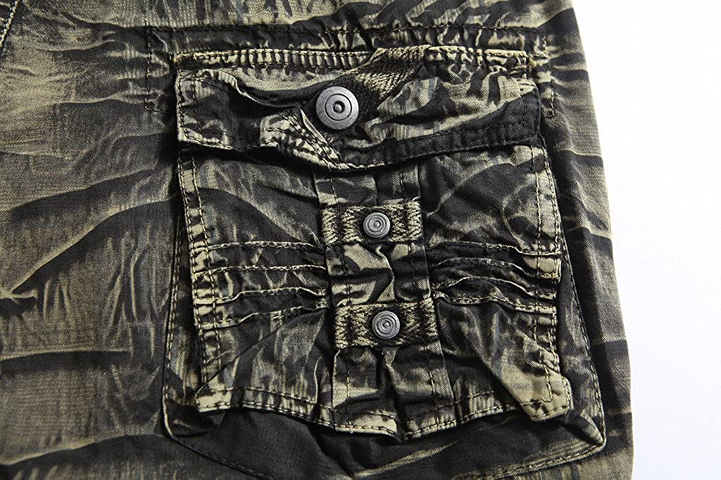 Elonglin Mens Cargo Shorts Camouflage Pants Casual Shorts Multi Pockets No Belt