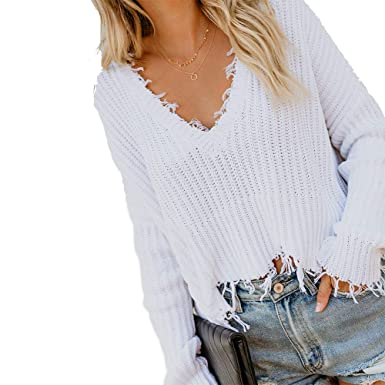 5507605a1 Lillusory Women s Loose Long Sleeve V-Neck Oversized Ripped Pullover Knit  Sweater Crop Tops (
