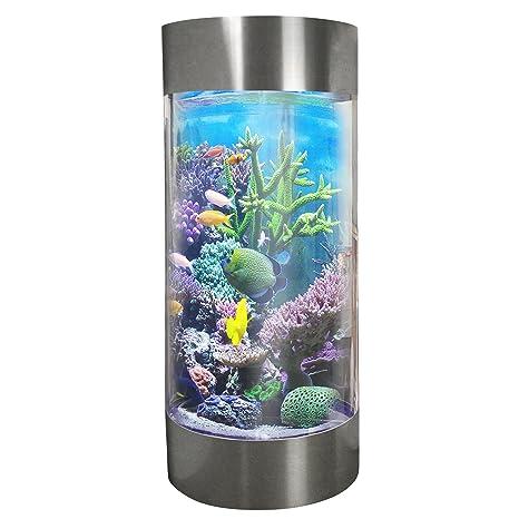 MonsterShop - Acuario Forma de Cilindro para Peces Tropicales 268 litros Acero Inoxidable con 25kg de