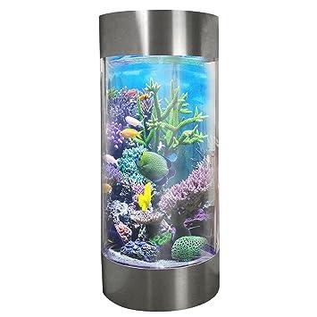 MonsterShop - Acuario Forma de Cilindro para Peces Tropicales 268 litros Acero Inoxidable con 25kg de Grava Blanca: Amazon.es: Productos para mascotas