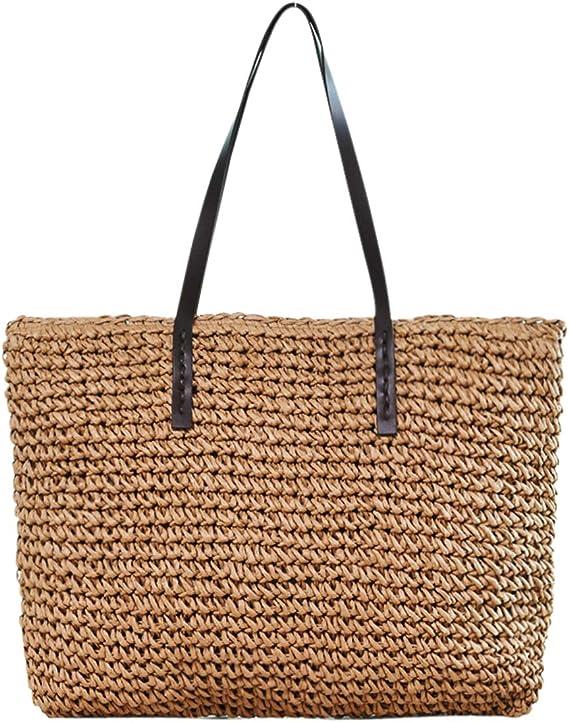 Damen Handtasche Mode Schöne Stroh Gewebt Handtasche Große Sommer Strand Um N9S5