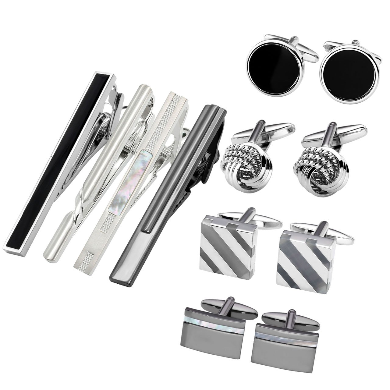 Jovivi 12pcs Stainless Steel Men's Classic Silver Cufflinks and Tie Bar Set for French Cuff Dress Shirts with Gift Box AJ1010102579