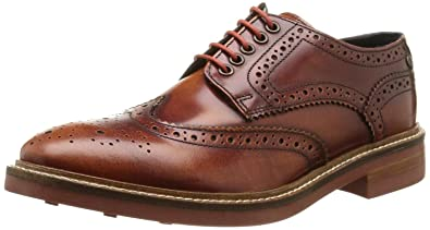 cc2222b757cbf Base London Woburn Hi Shine Tan Leather Mens Formal Brogue Casual Shoes  Boots-11