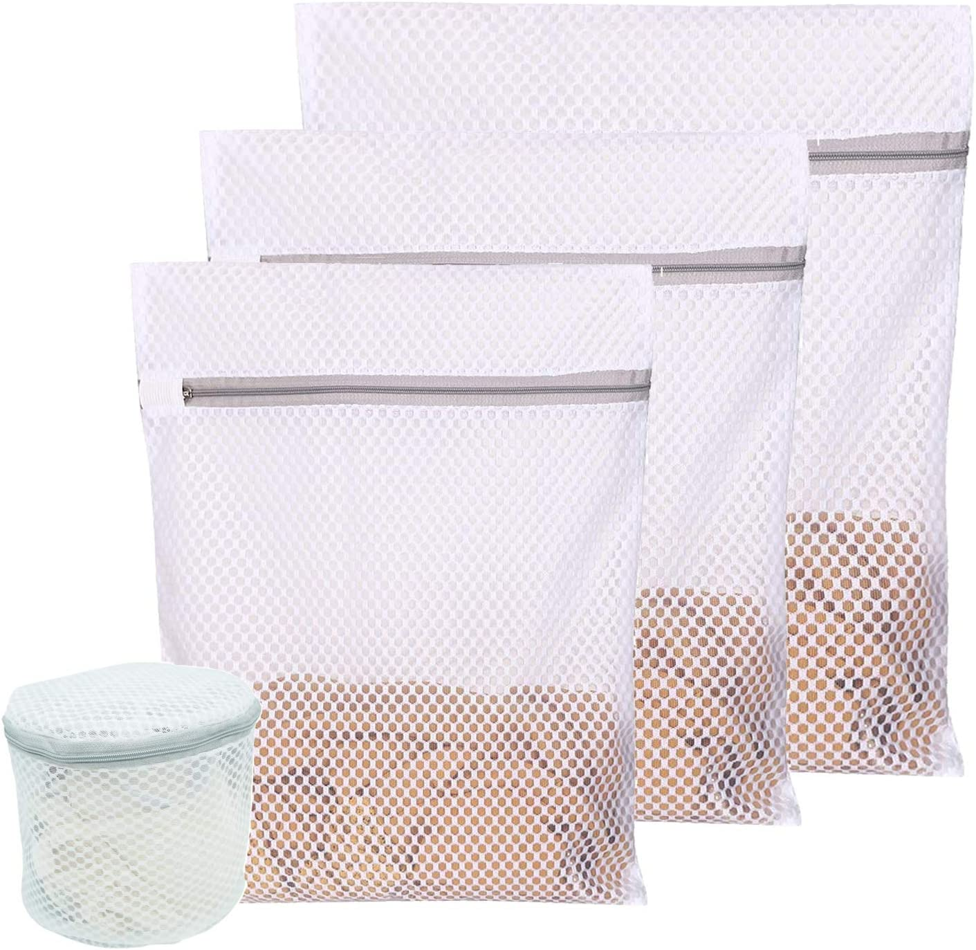 Mliepow 4 Pack Premium Large Mesh Laundry Bag, Zippered Polyester Washing Protector Breathable Mesh Fabric Wash Bag for Laundry, Blouse, Hosiery, Stocking, Pantyhose, Socks, Underwear, Bra, Lingerie