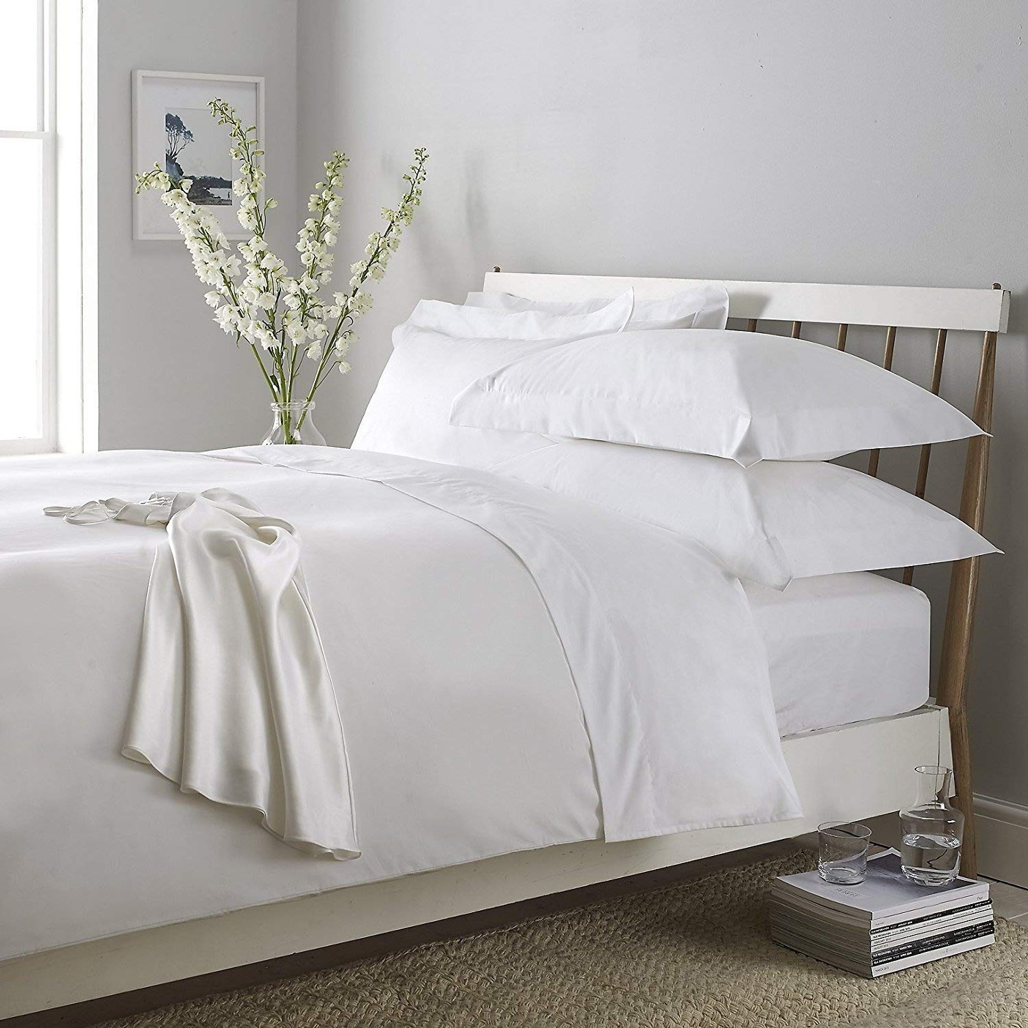 Luxury 100/% Egyptian Cotton Extra Deep Fitted Sheets 200TC Flat Sheets All Sizes