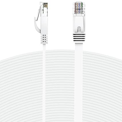Amazon fosmon 50 feet white rj45 cat6 snagless ethernet fosmon 50 feet white rj45 cat6 snagless ethernet patch cable flat tangle asfbconference2016 Image collections