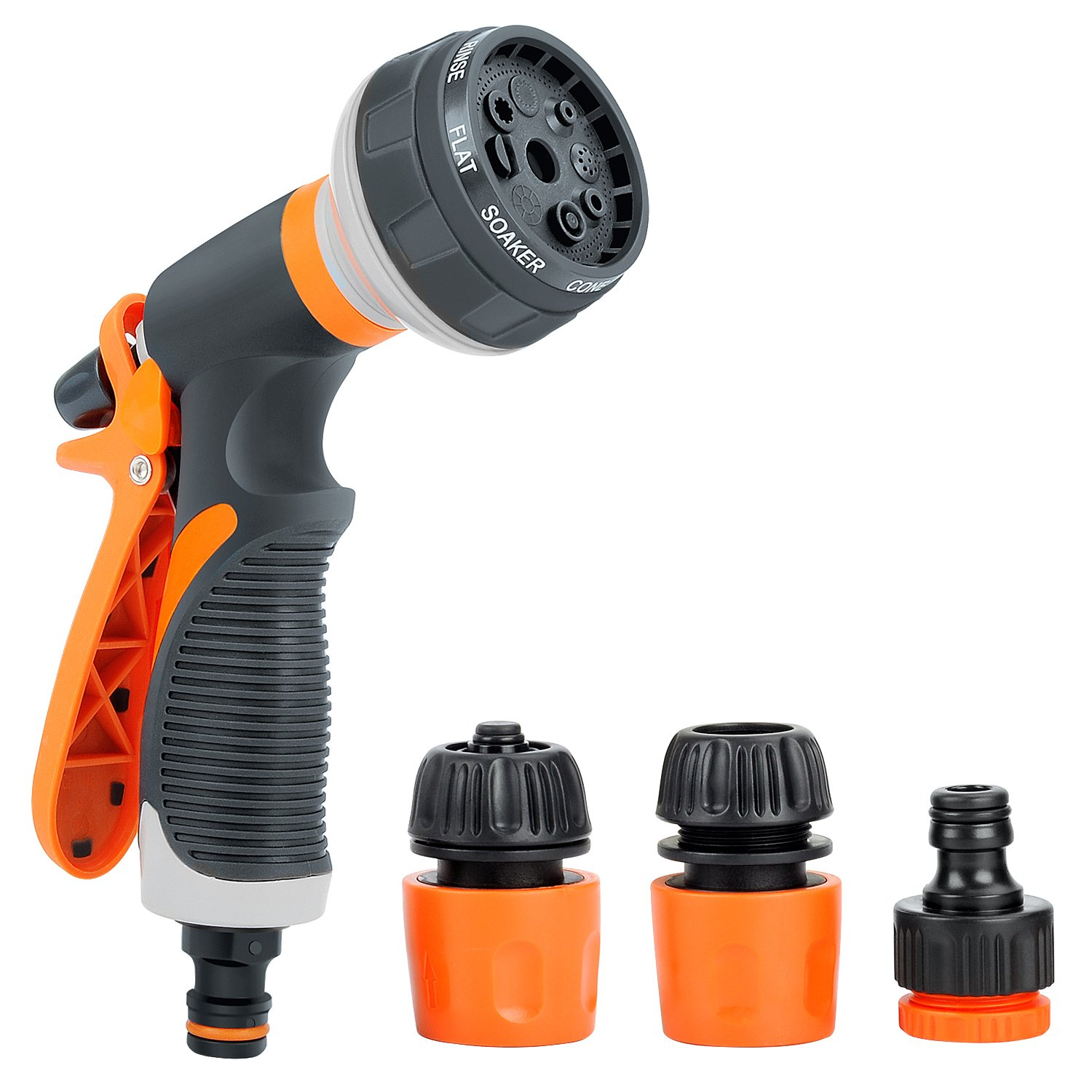 YBWM Hose Nozzles Garden Sprayer with Heavy Duty 8 Adjustable Watering Patterns for Watering Plants, Cleaning, Car Wash and Showering Pets.