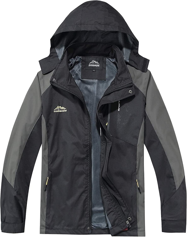 TEZO Mens Rain Jacket Waterproof with Hooded Hiking Coat Lightweight Windbreaker