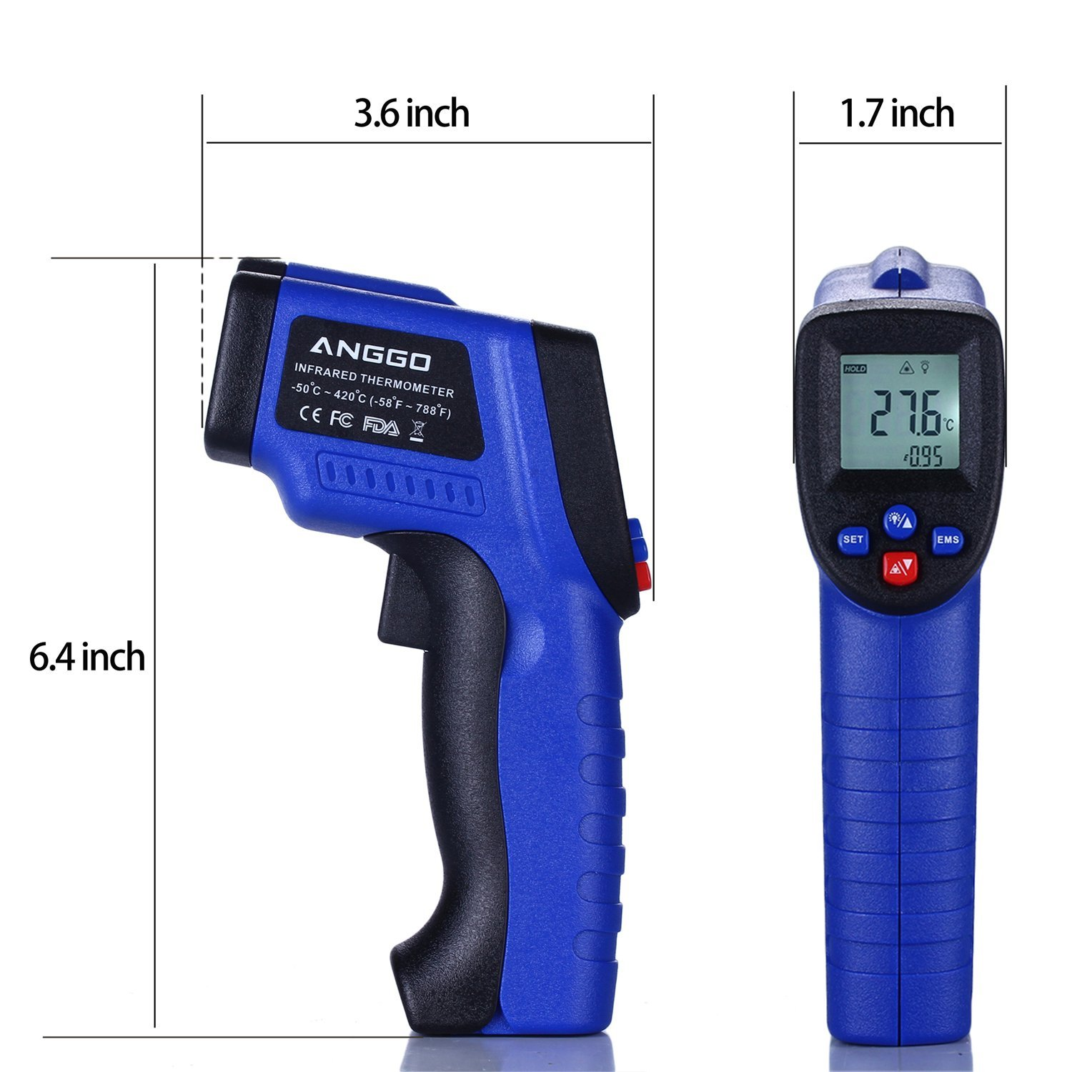 ANGGO Non-contact Digital Infrared Thermometer Temperature Gun with EMS Adjustable (-58 °F to 788°F) by ANGGO (Image #8)
