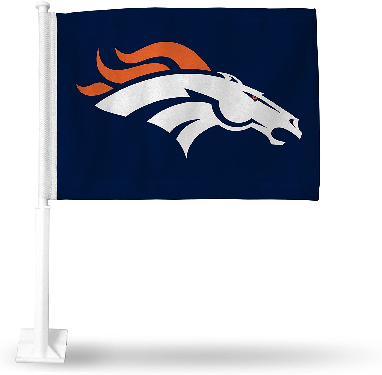 NFL Denver Broncos - Navy Bronco Head Car Flag with included Pole