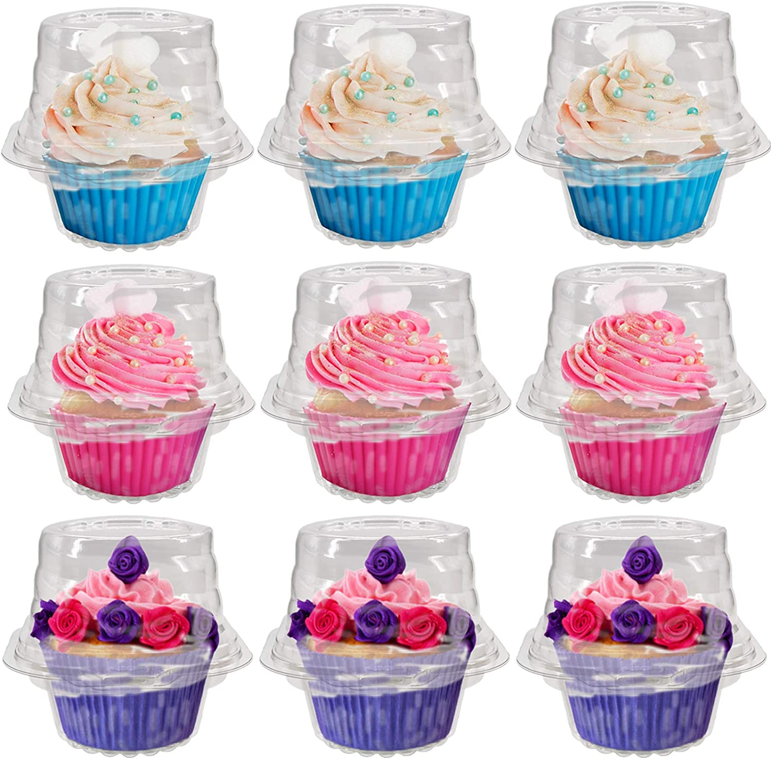 50 Pack Individual Cupcake Boxes, Connected Single Clear Plastic Cupcake Containers Disposable with Cake Dome, For Home, Cake Shop Party Use Muffin Cake Dessert Fruit Hamburgers Cupcake Holder.