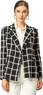 Allegra K Women's Notched Lapel Double Breasted Plaid Formal Blazer Jacket