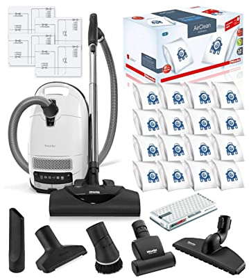Miele Complete C3 Cat and Dog Canister HEPA Canister Vacuum Cleaner with SEB228 Powerhead Bundle - Includes Miele Performance Pack 16 Type GN AirClean Genuine FilterBags + Genuine AH50 HEPA Filter