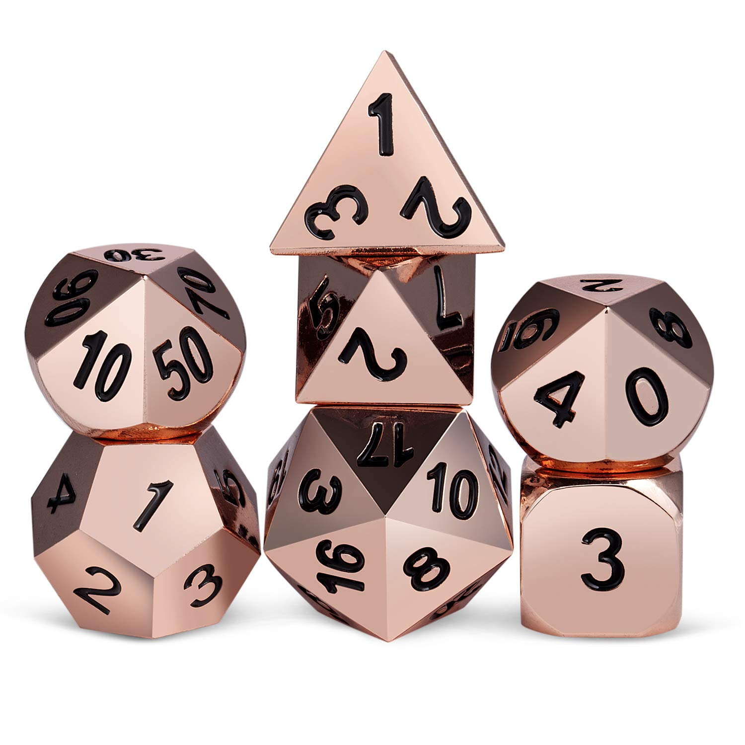 Rose Gold Dnd Metal Dice Set Hard 7 Die Polyhedral Dice Set With Silver Metal Tin For Dungeons And Dragons Role Playing Game Dd Rpg Shadowrun