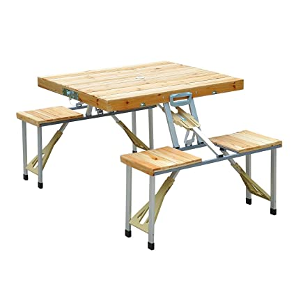 Amazon.com : Wooden Camping Picnic Table Bench Seat Outdoor ...